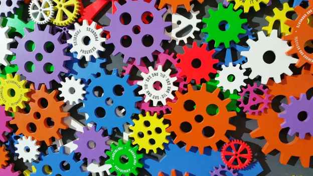a series of colorful gears