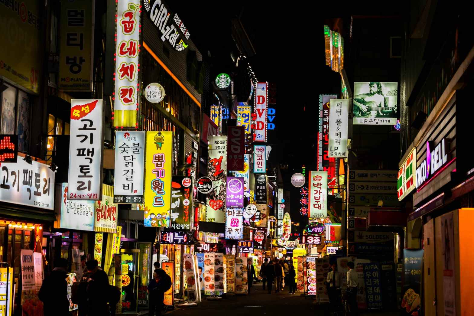 Korean signs lighting up a dark street