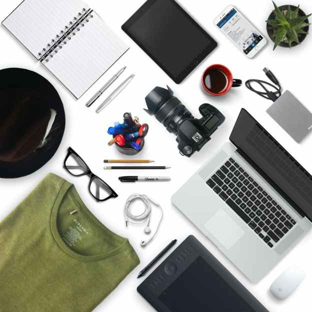 assorted office supplies and tech gear