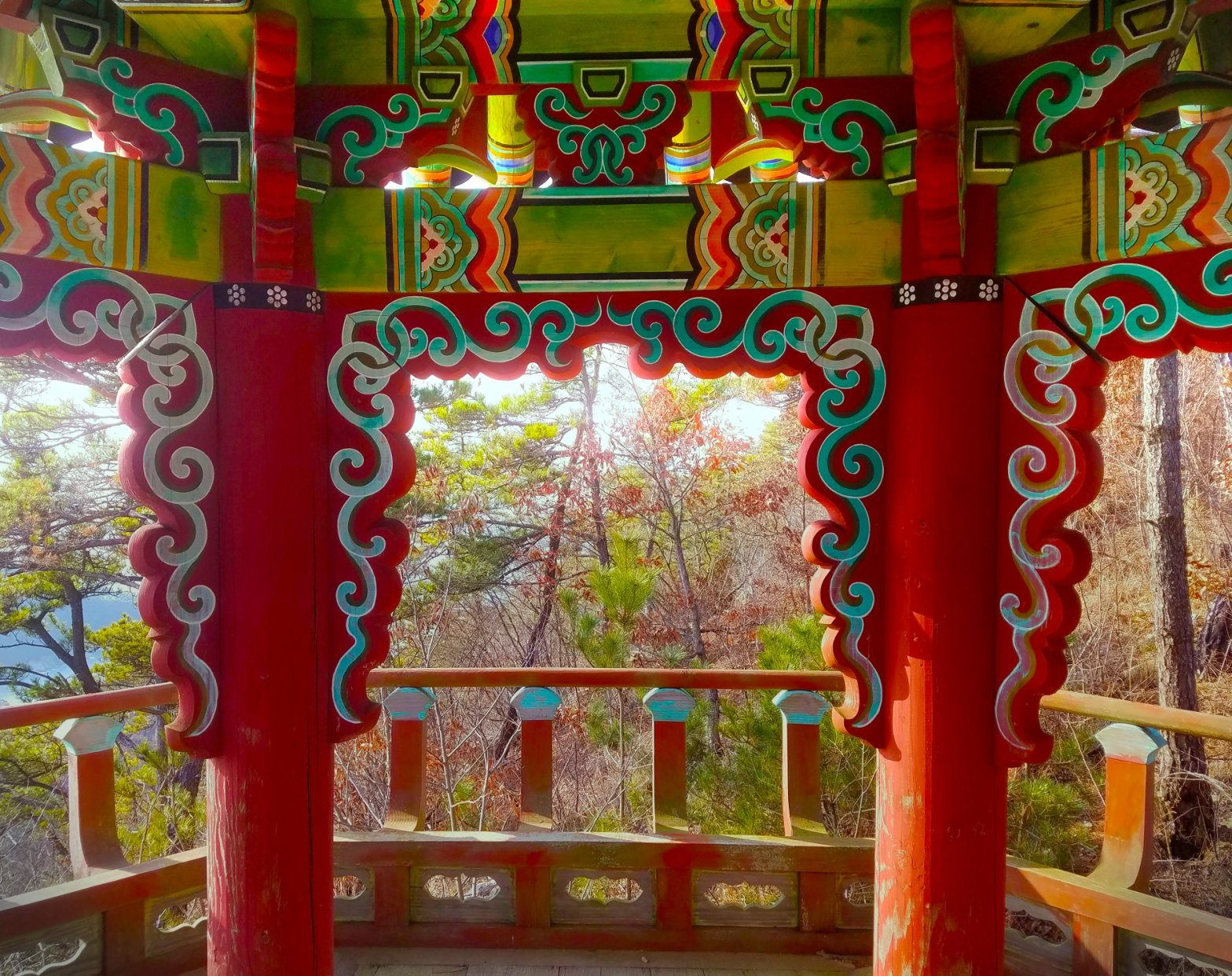 inside a colorful Korean pagoda